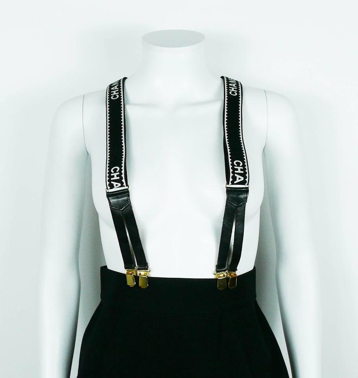 Chanel Vintage Iconic Rare Black and White Suspenders 5