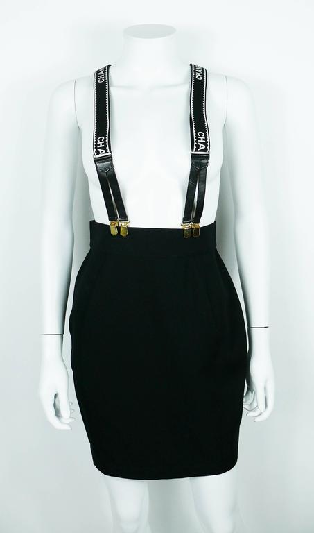 Chanel Vintage Iconic Rare Black and White Suspenders 2