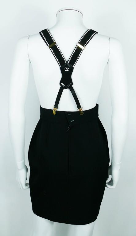 Chanel Vintage Iconic Rare Black and White Suspenders For Sale 3