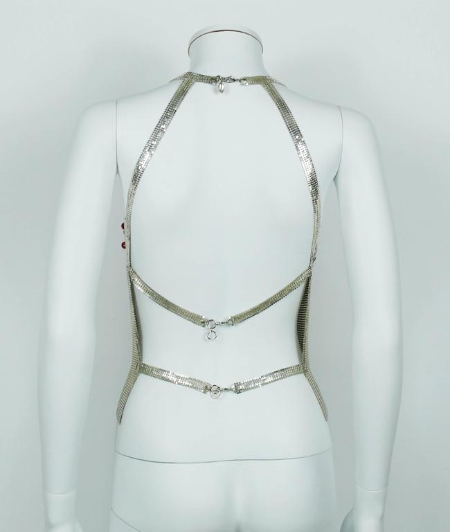 Paco Rabanne Chainmail Halter Top with Plastic Bead Chevron Breast Detail 9