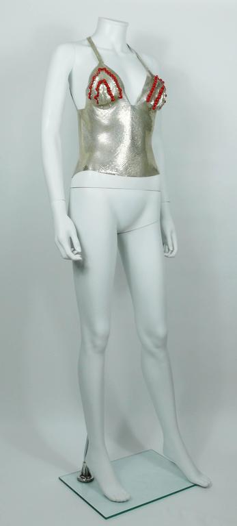 Paco Rabanne Chainmail Halter Top with Resin Bead Chevron Breast Detail 4