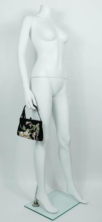 Gucci by Tom Ford Rare Embroidered Japanese Flower Style Silk Handbag 2