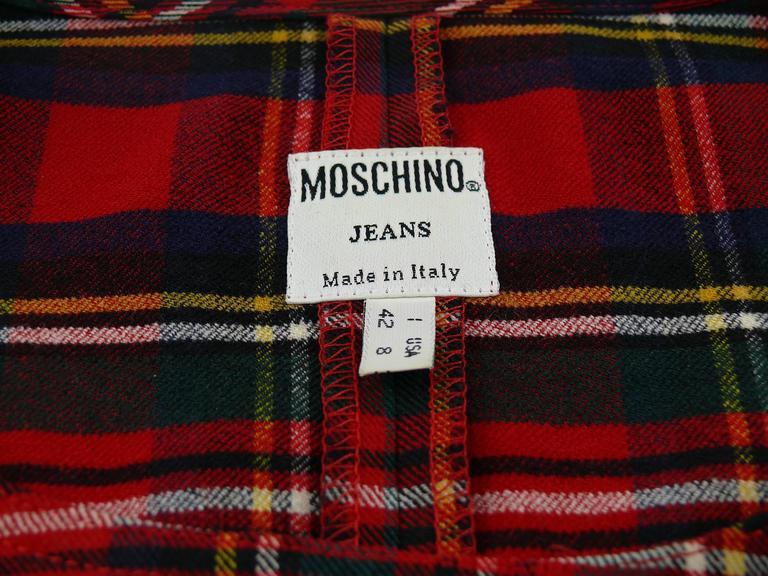 Moschino Vintage Tartan Plaid Mini Day Dress For Sale 1