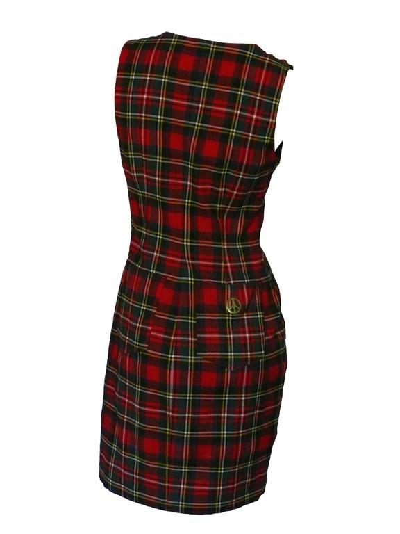 Black Moschino Vintage Tartan Plaid Mini Day Dress For Sale
