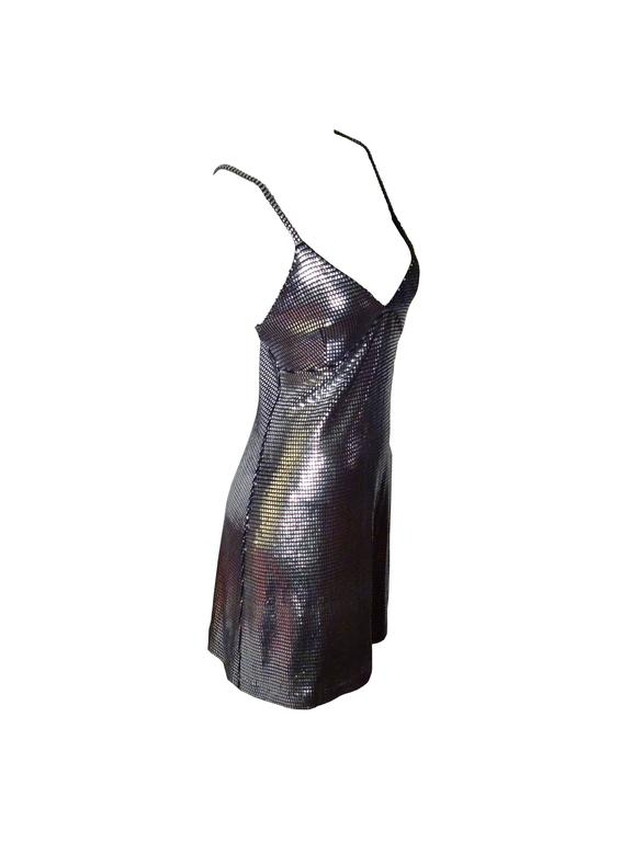 Paco Rabanne Sexy Silver Foil Grid Little Dress 2