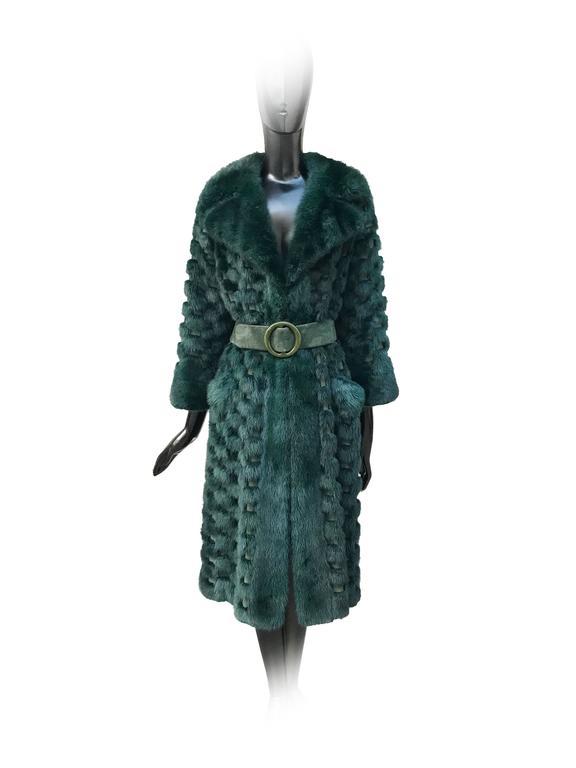 Christian Dior Rare Vintage Forest Green Mink/Leather basketweave coat. 3