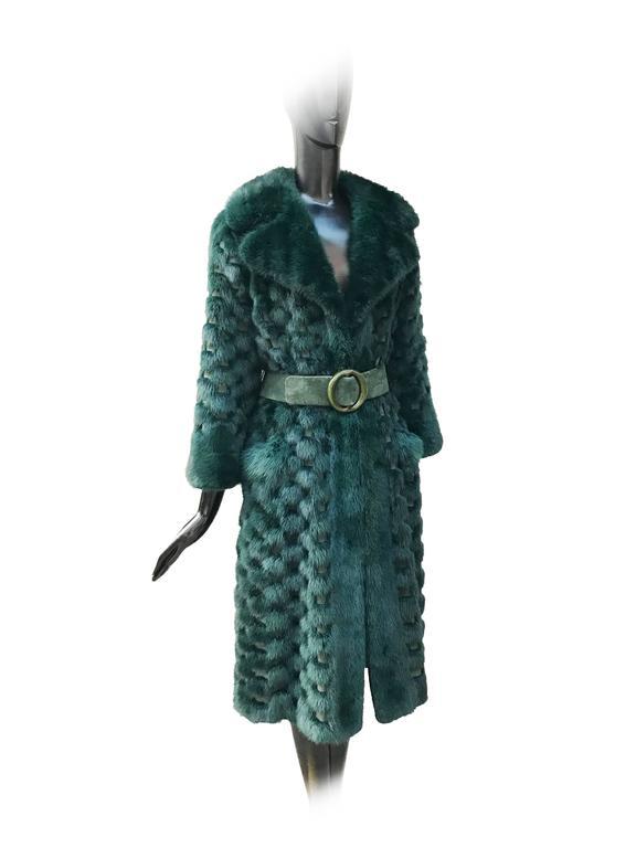 Christian Dior Rare Vintage Forest Green Mink/Leather basketweave coat. 2