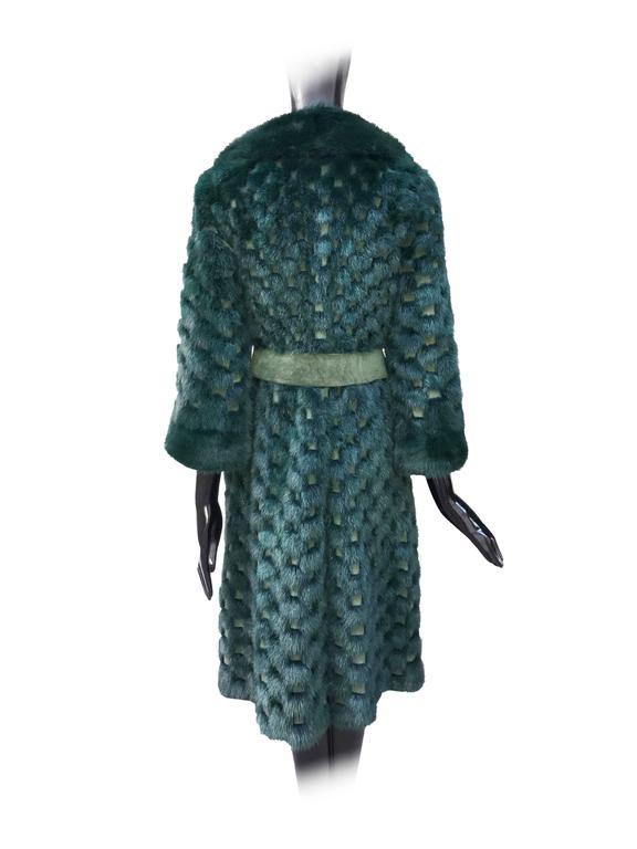 Christian Dior Rare Vintage Forest Green Mink/Leather basketweave coat. 4