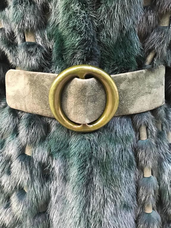 Christian Dior Rare Vintage Forest Green Mink/Leather basketweave coat. 6