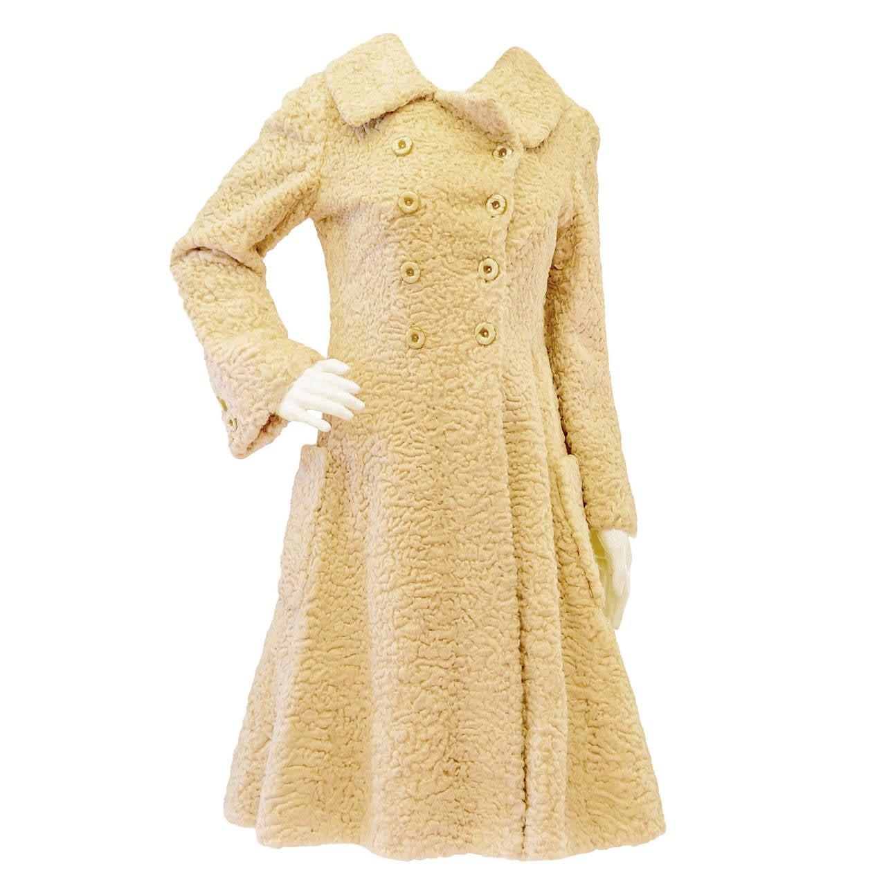 1960's GALANOS Curly Lamb Coat