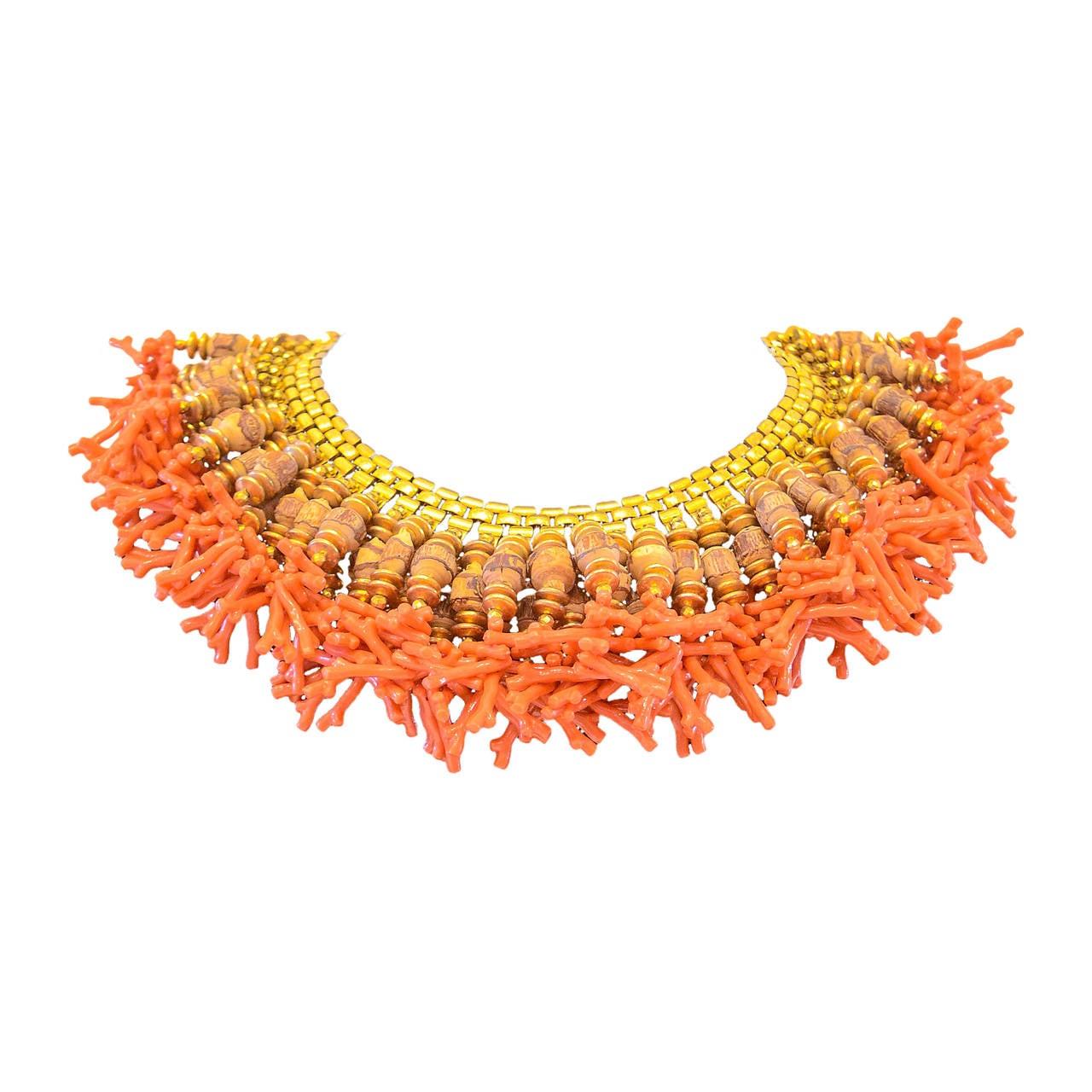 Miriam Haskell Fringe Bib Necklace For Sale