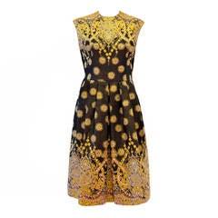 Pauline Trigere Metallic Brocade Evening Dress