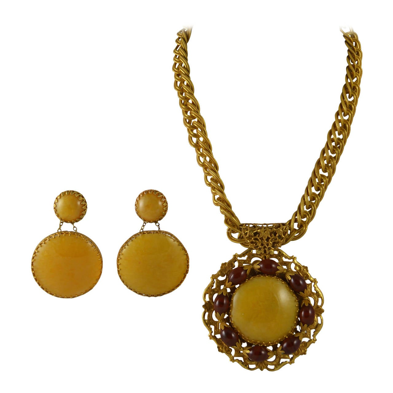 Miriam Haskell Medallion Necklace And Earrings Set At 1stdibs
