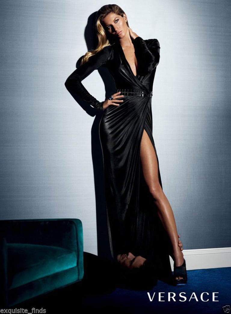 New Versace Black Wrap Dress For Sale At 1stdibs