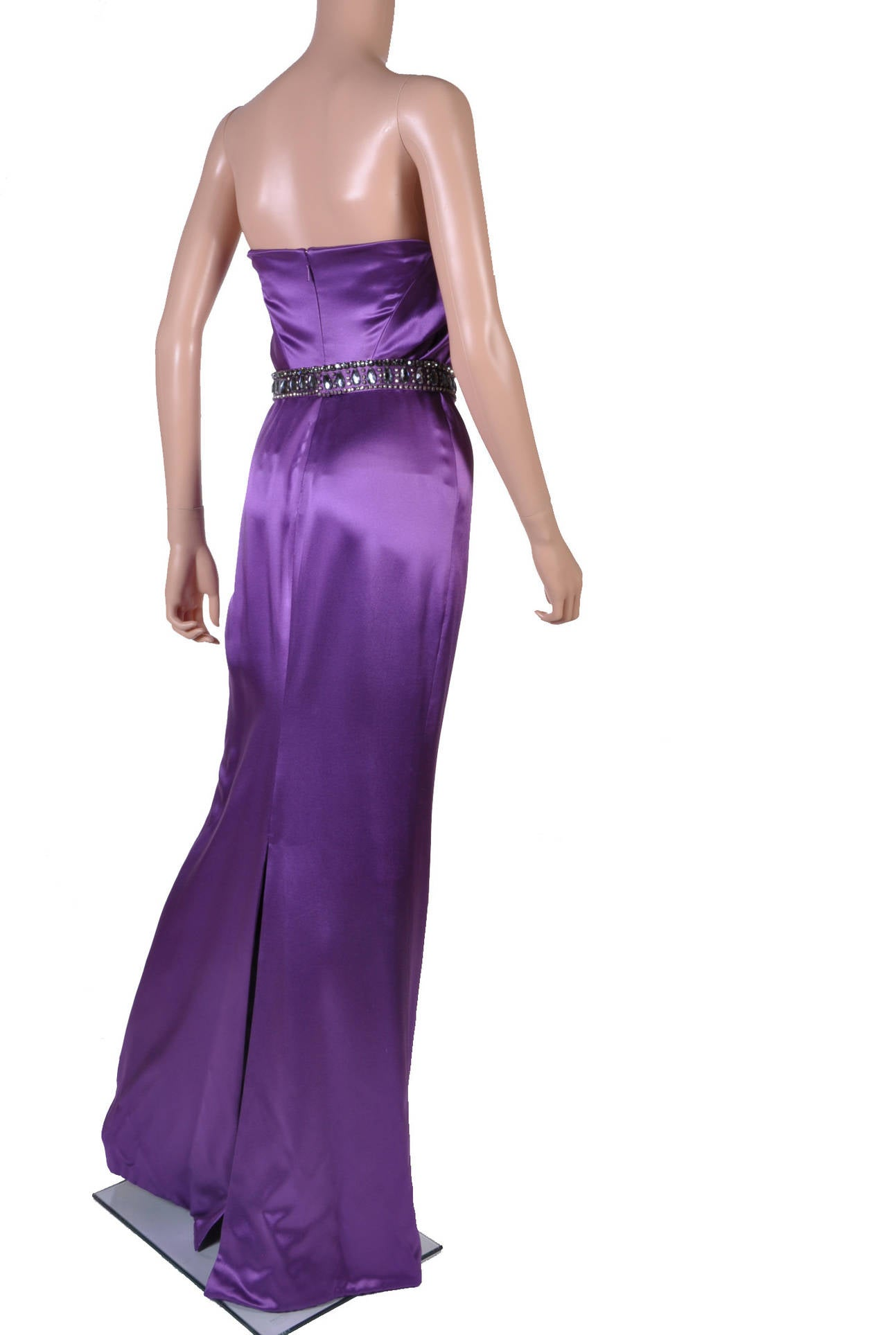 New VERSACE EMBELLISHED PURPLE AMETHYST STRAPLESS GOWN 4