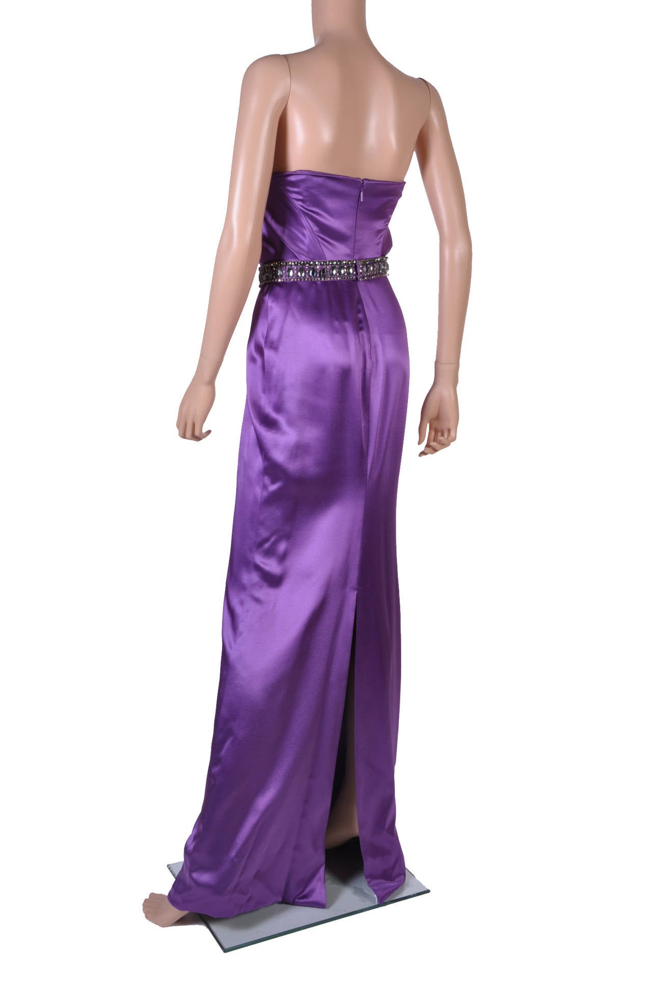 New VERSACE EMBELLISHED PURPLE AMETHYST STRAPLESS GOWN 5