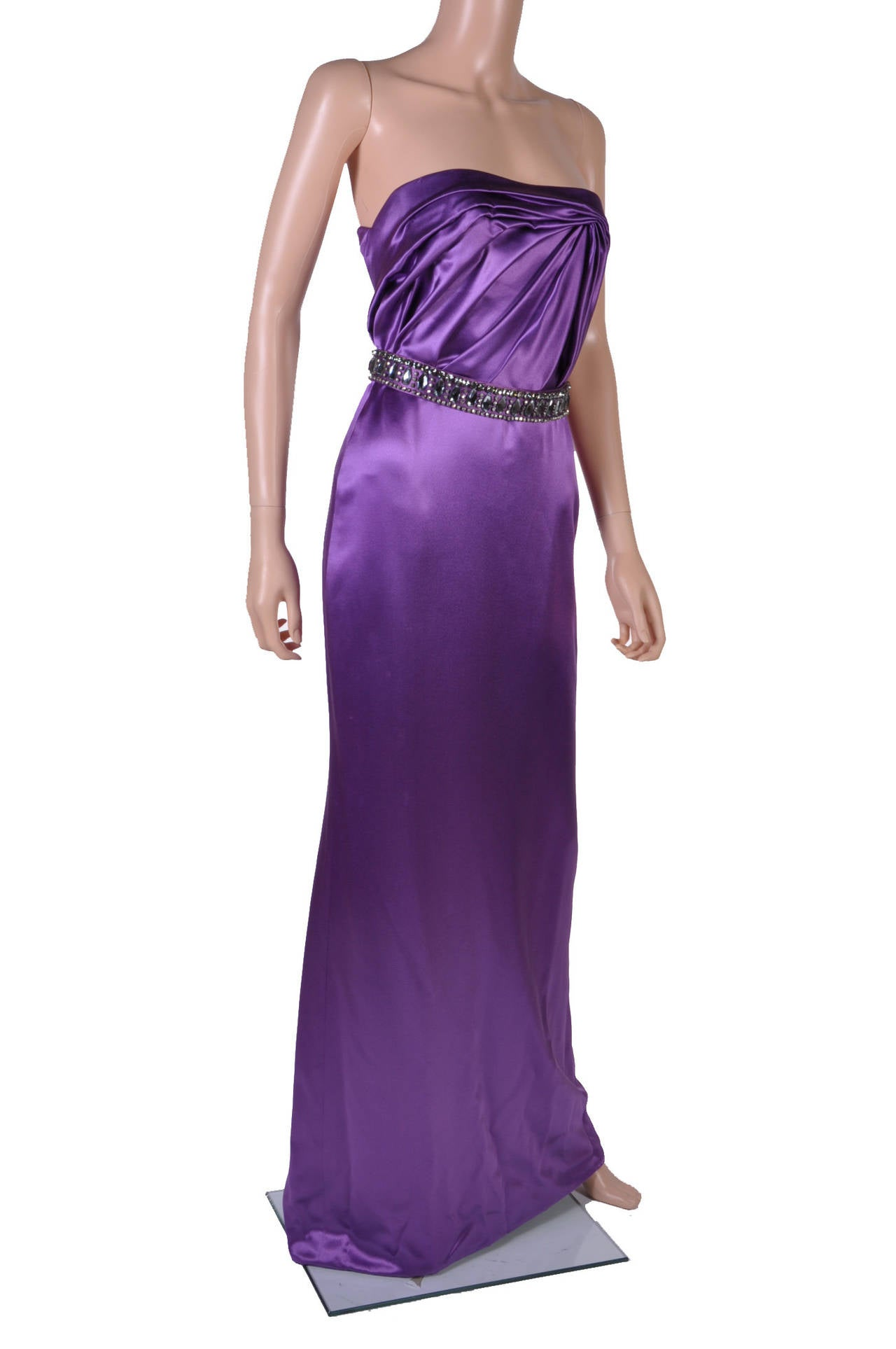 New VERSACE EMBELLISHED PURPLE AMETHYST STRAPLESS GOWN 2