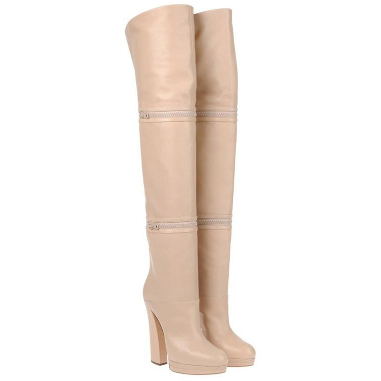 d5ada90f594 New CASADEI OVER THE KNEE NUDE LEATHER PLATFORM 3 IN 1 BOOTS 41 - 11 ...