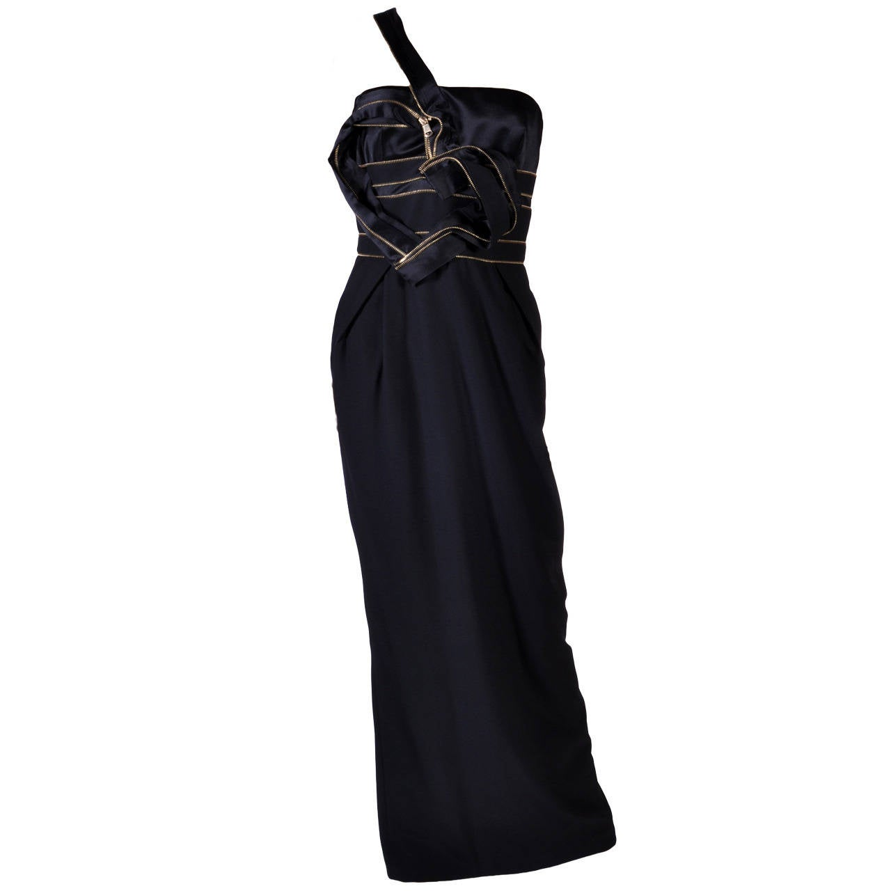 New VERSACE ONE SHOULDER BLACK LONG DRESS GOWN WITH HEART