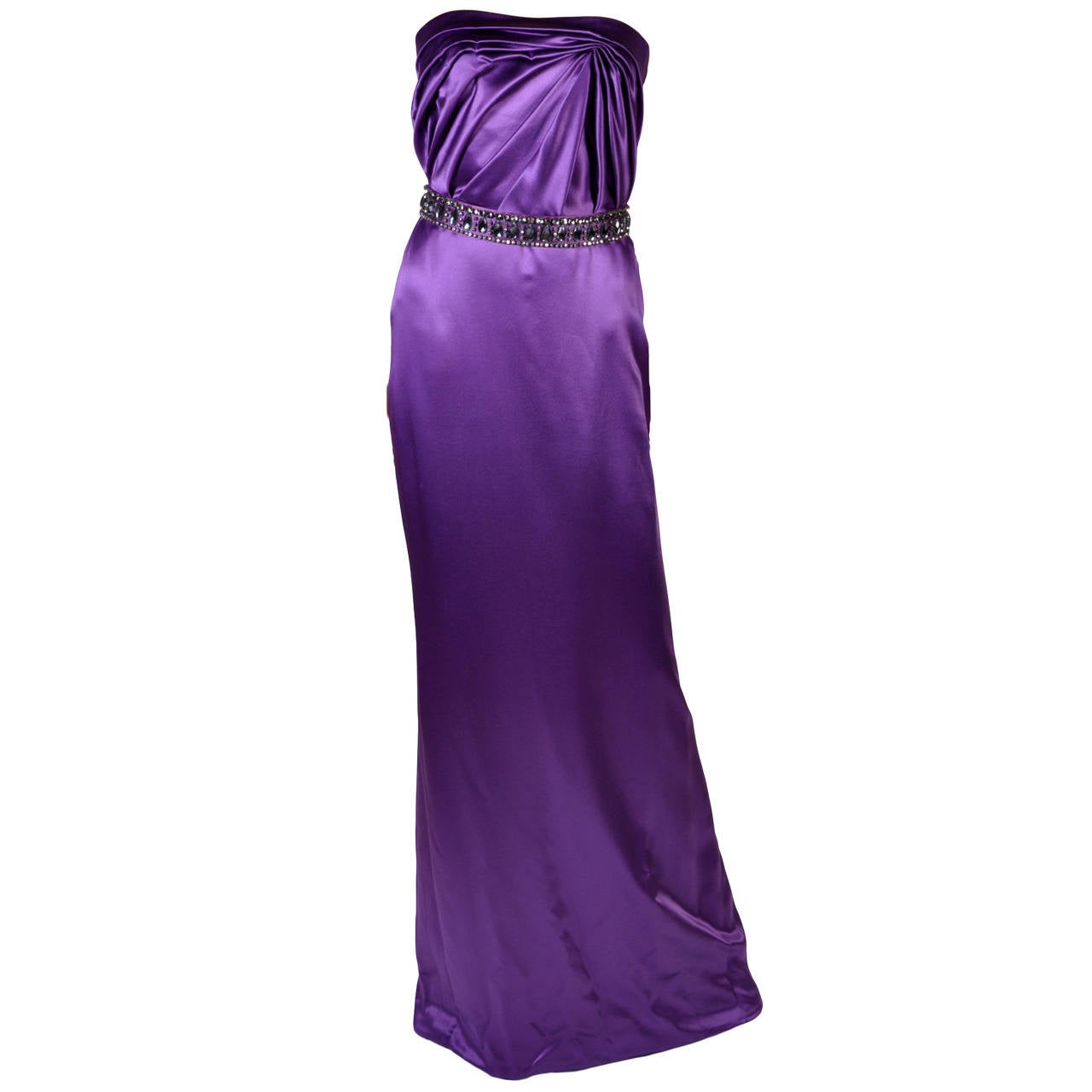 New VERSACE EMBELLISHED PURPLE AMETHYST STRAPLESS GOWN 1