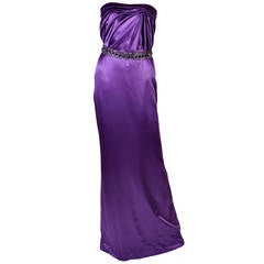 New VERSACE EMBELLISHED PURPLE AMETHYST STRAPLESS GOWN