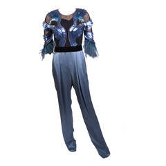 New  GUCCI FEATHER EMBROIDERED JUMPSUIT