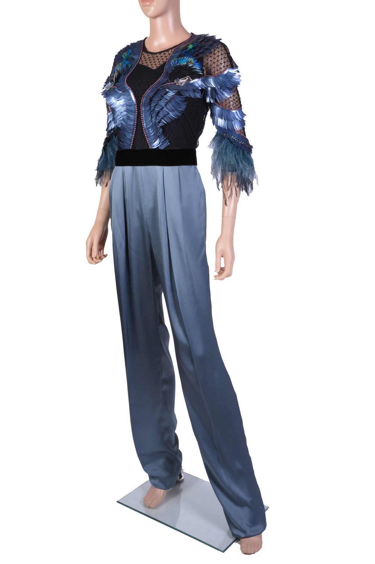 gucci jumpsuit. new gucci feather embroidered jumpsuit 3 gucci jumpsuit
