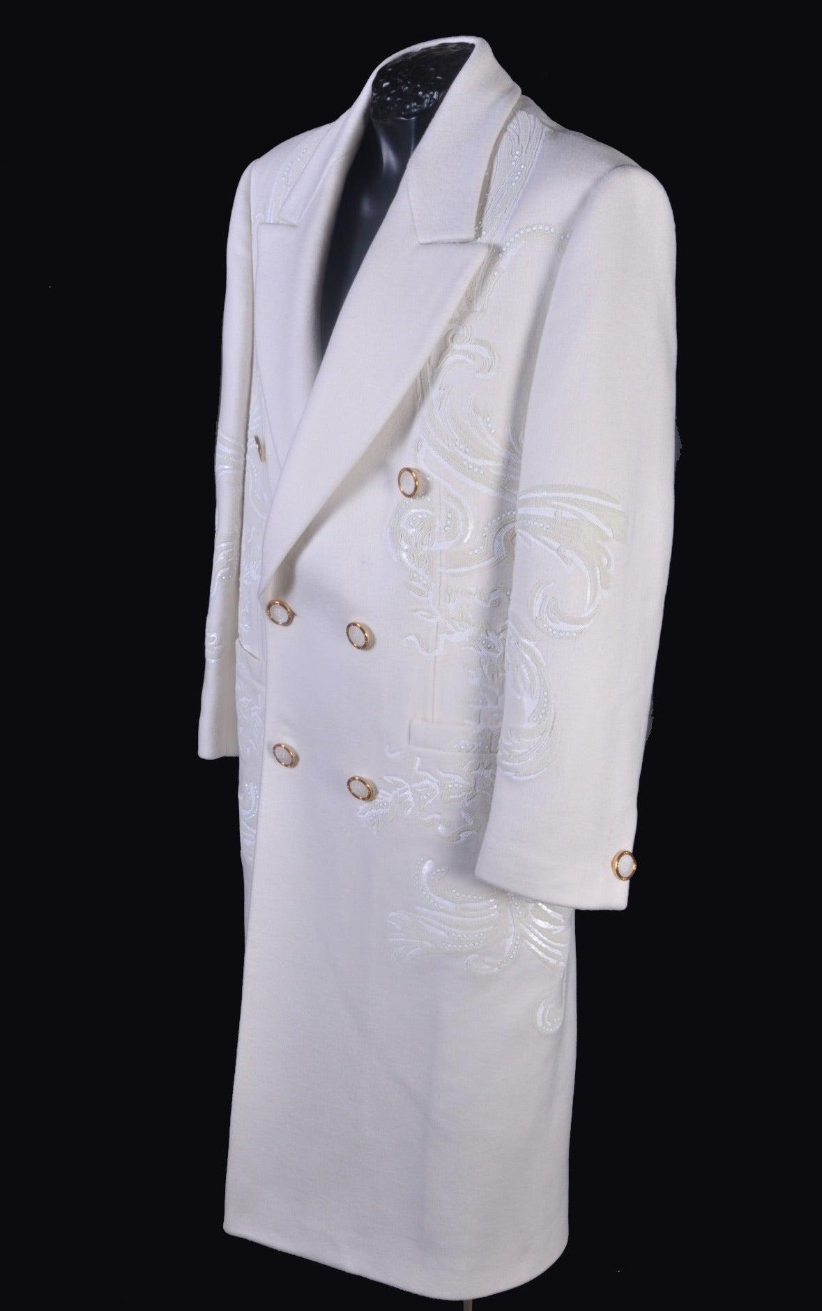 Men's New VERSACE WHITE 100% CASHMERE EMBELLISHED MEN's COAT For Sale