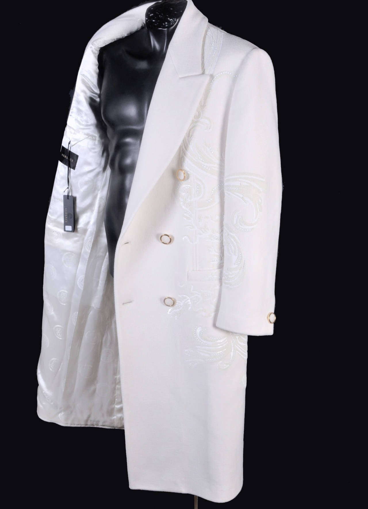 New VERSACE WHITE 100% CASHMERE EMBELLISHED MEN's COAT For Sale 3