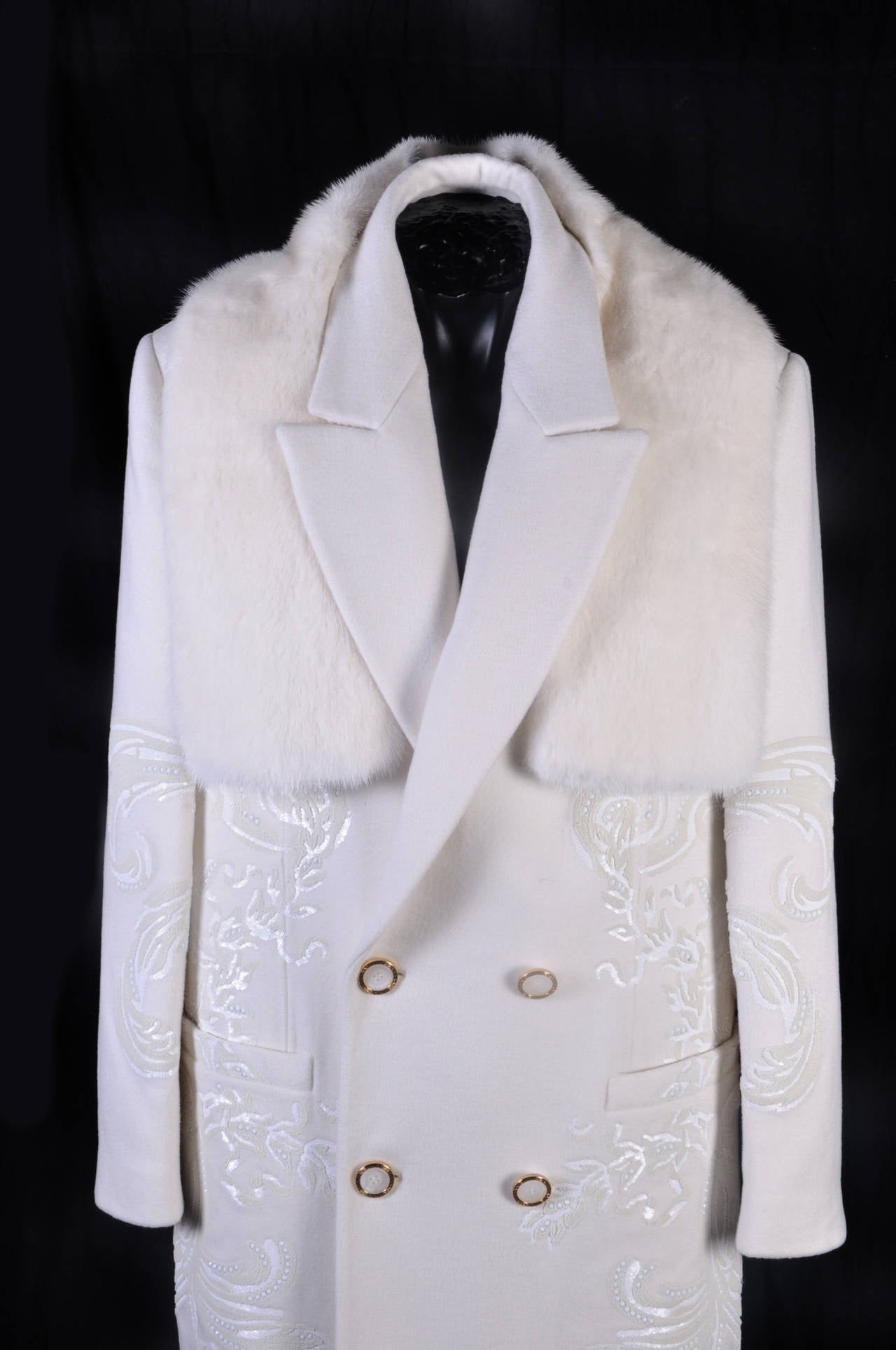 New Versace White 100 Cashmere Embellished Men S Coat For