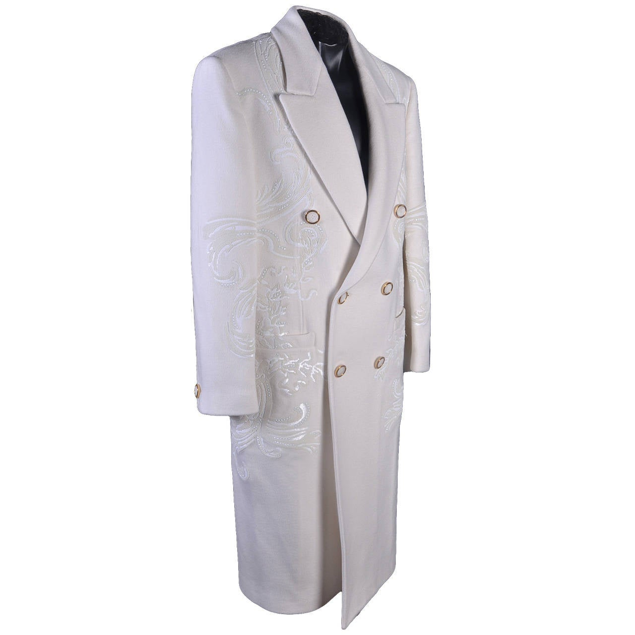 New VERSACE WHITE 100% CASHMERE EMBELLISHED MEN's COAT For Sale