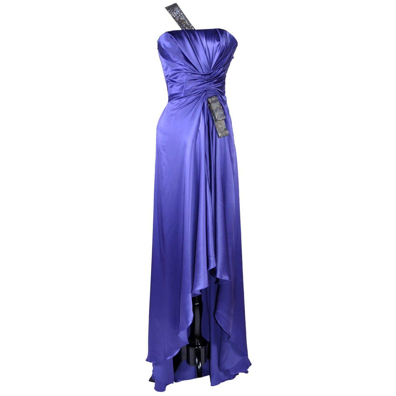New VERSACE PURPLE CRYSTAL EMBELLISHED LONG DRESS