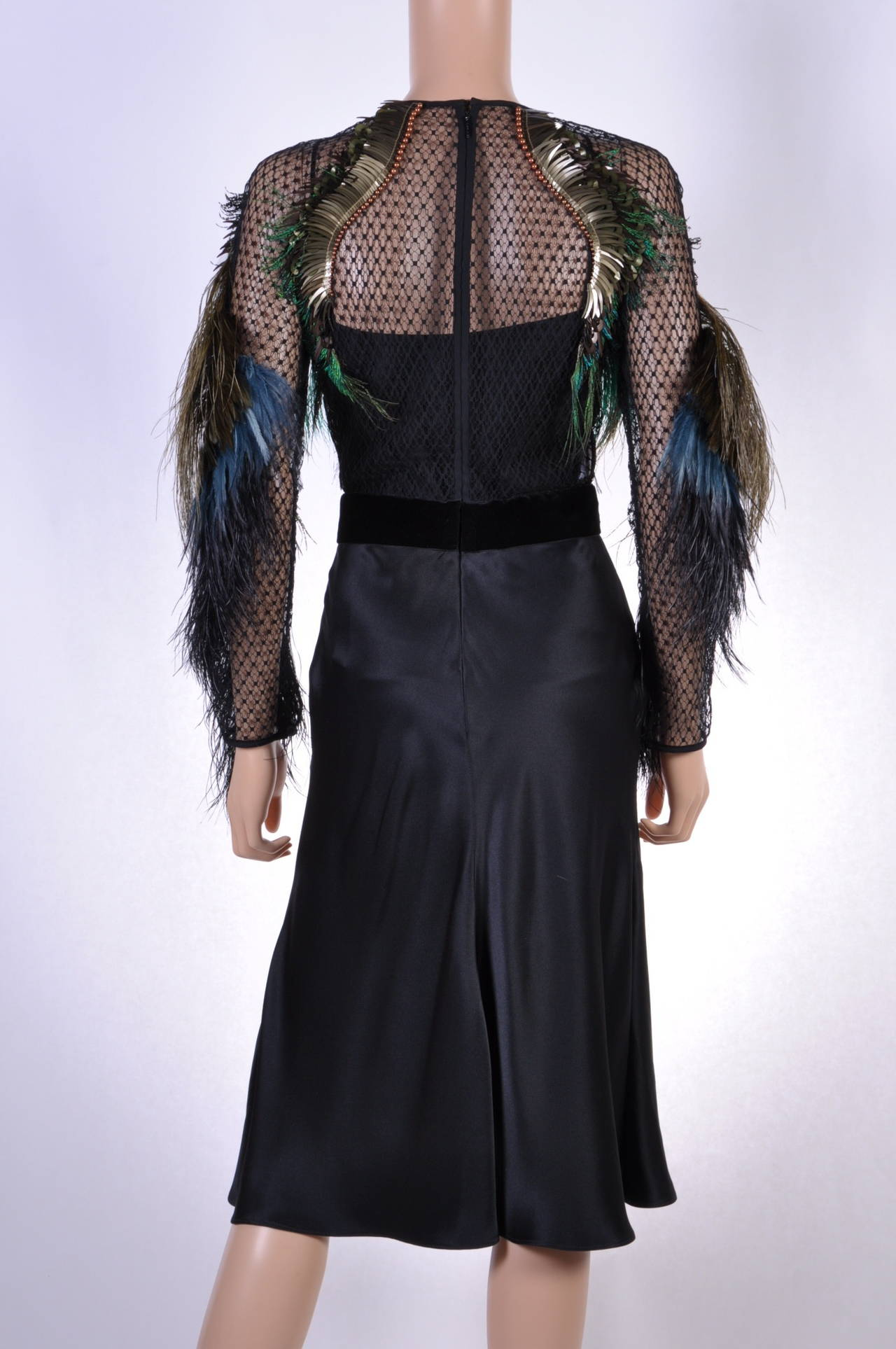 Gucci Feather Embroidered Evening Dress For Sale 2