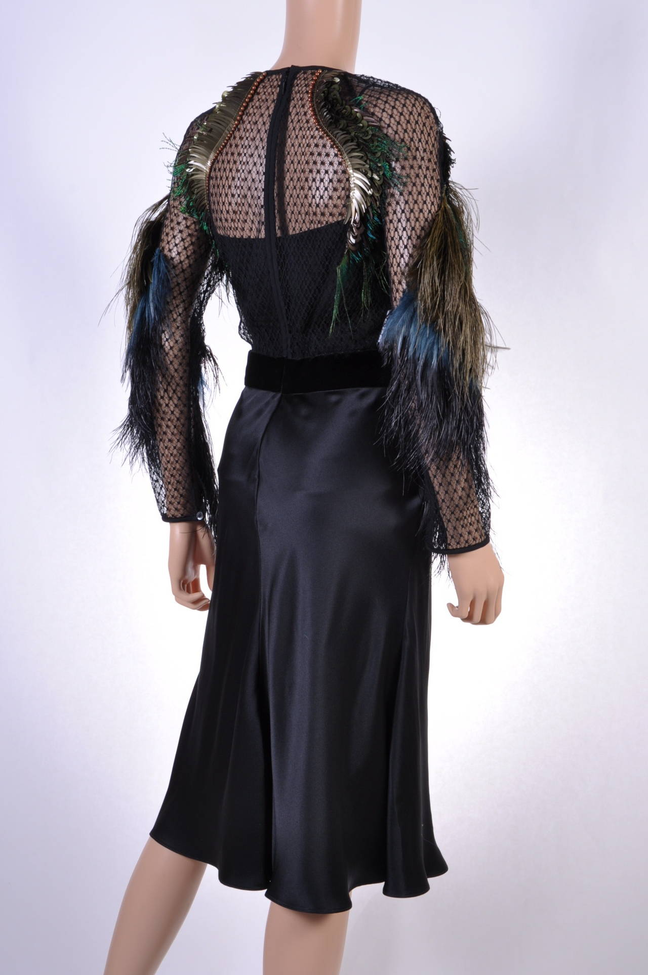 Gucci Feather Embroidered Evening Dress For Sale 3