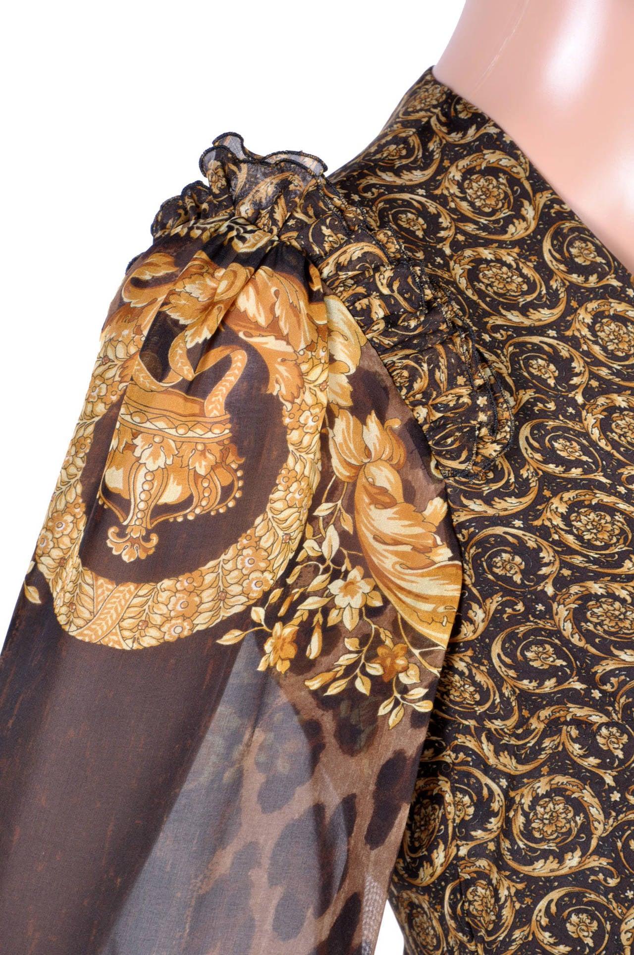 New Versace Mixed Print Silk Gown 4