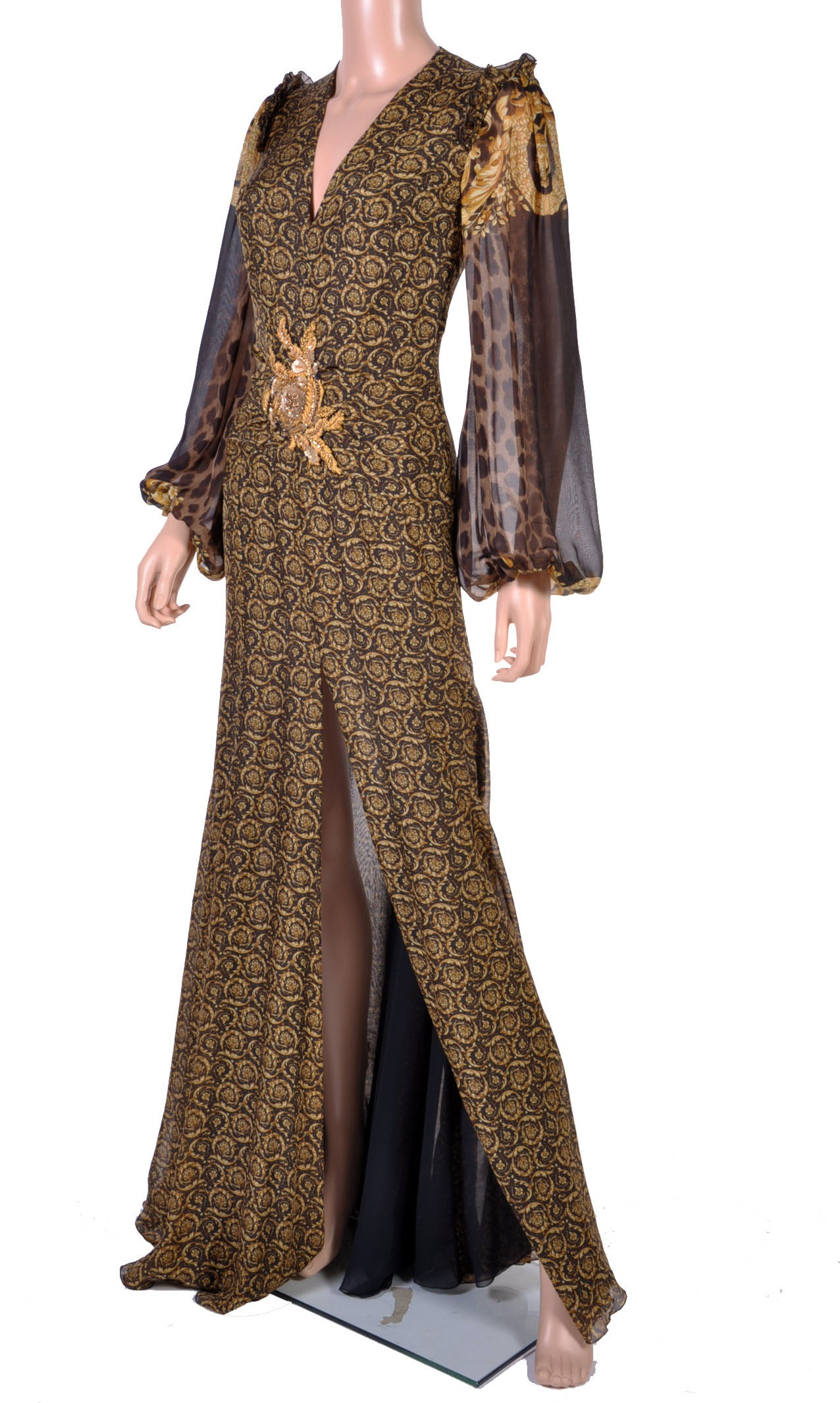 New Versace Mixed Print Silk Gown 2