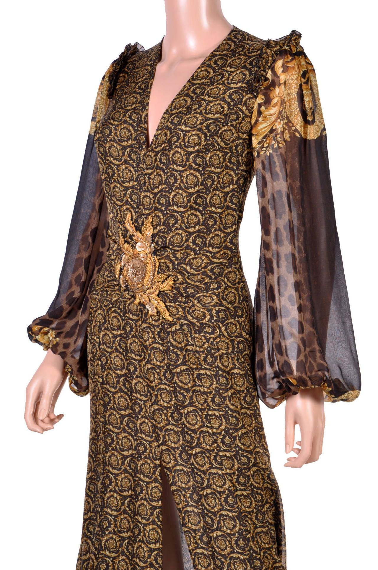 New Versace Mixed Print Silk Gown 3