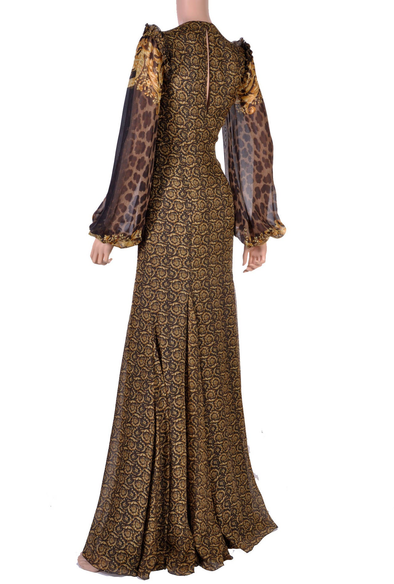 New Versace Mixed Print Silk Gown 5