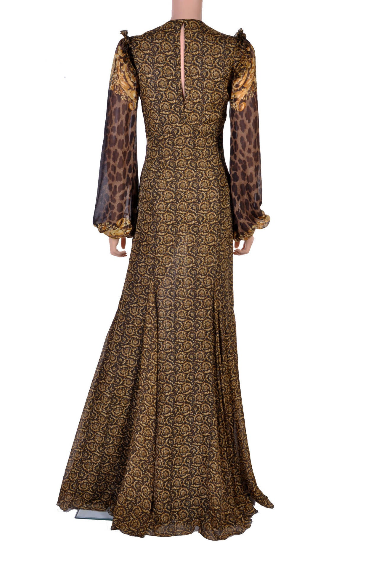 New Versace Mixed Print Silk Gown 6