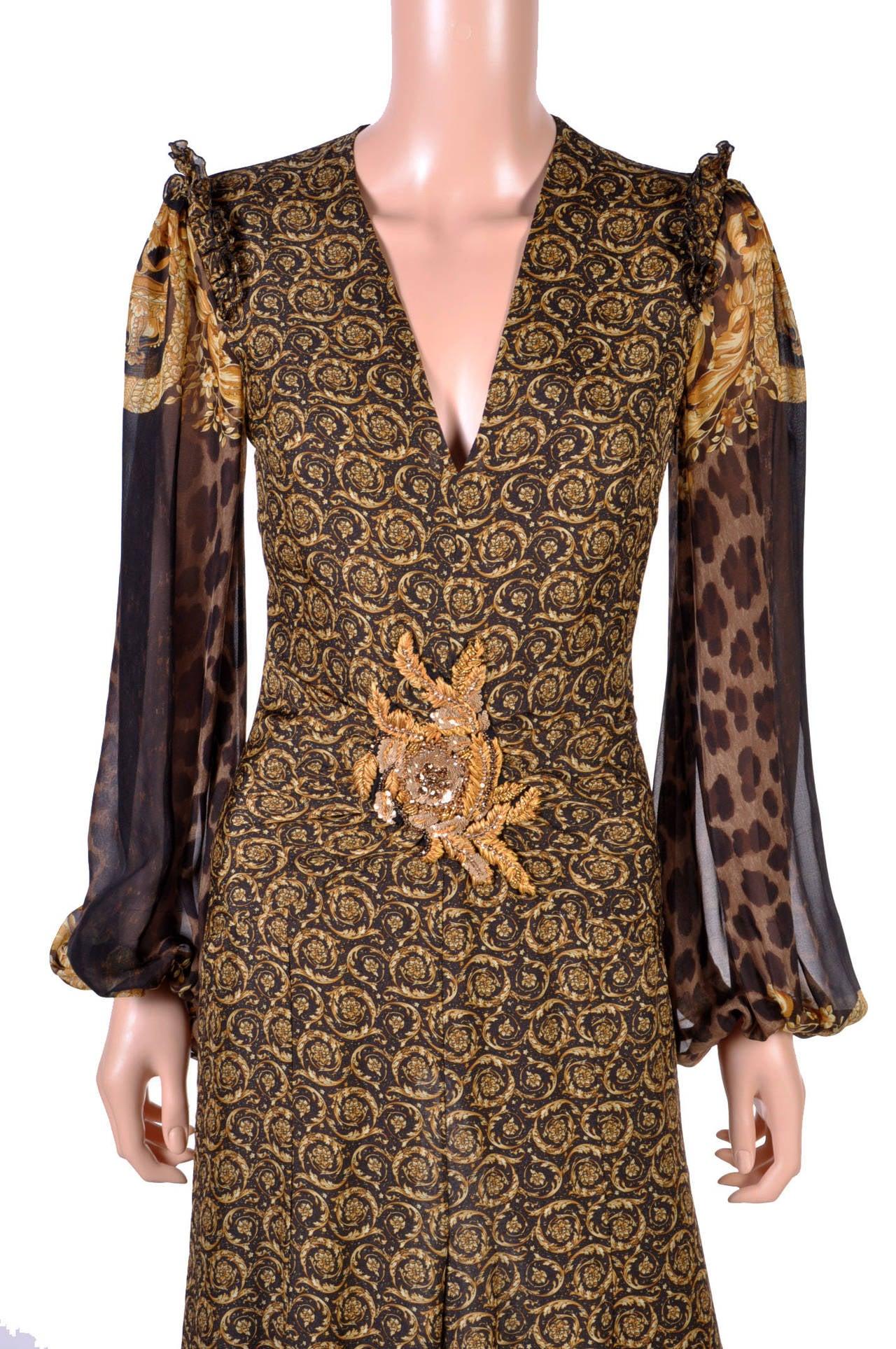 New Versace Mixed Print Silk Gown 7