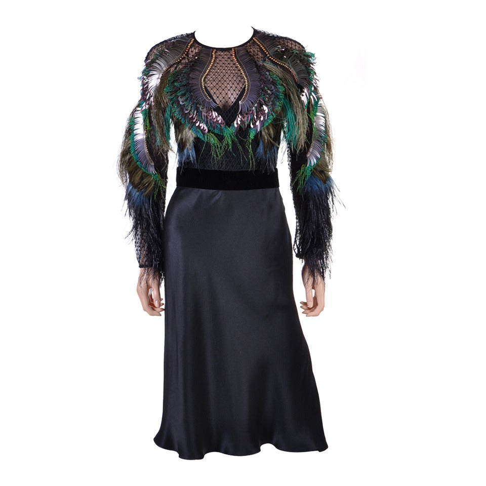 Gucci Feather Embroidered Evening Dress For Sale
