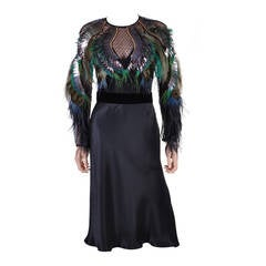 Gucci Feather Embroidered Evening Dress