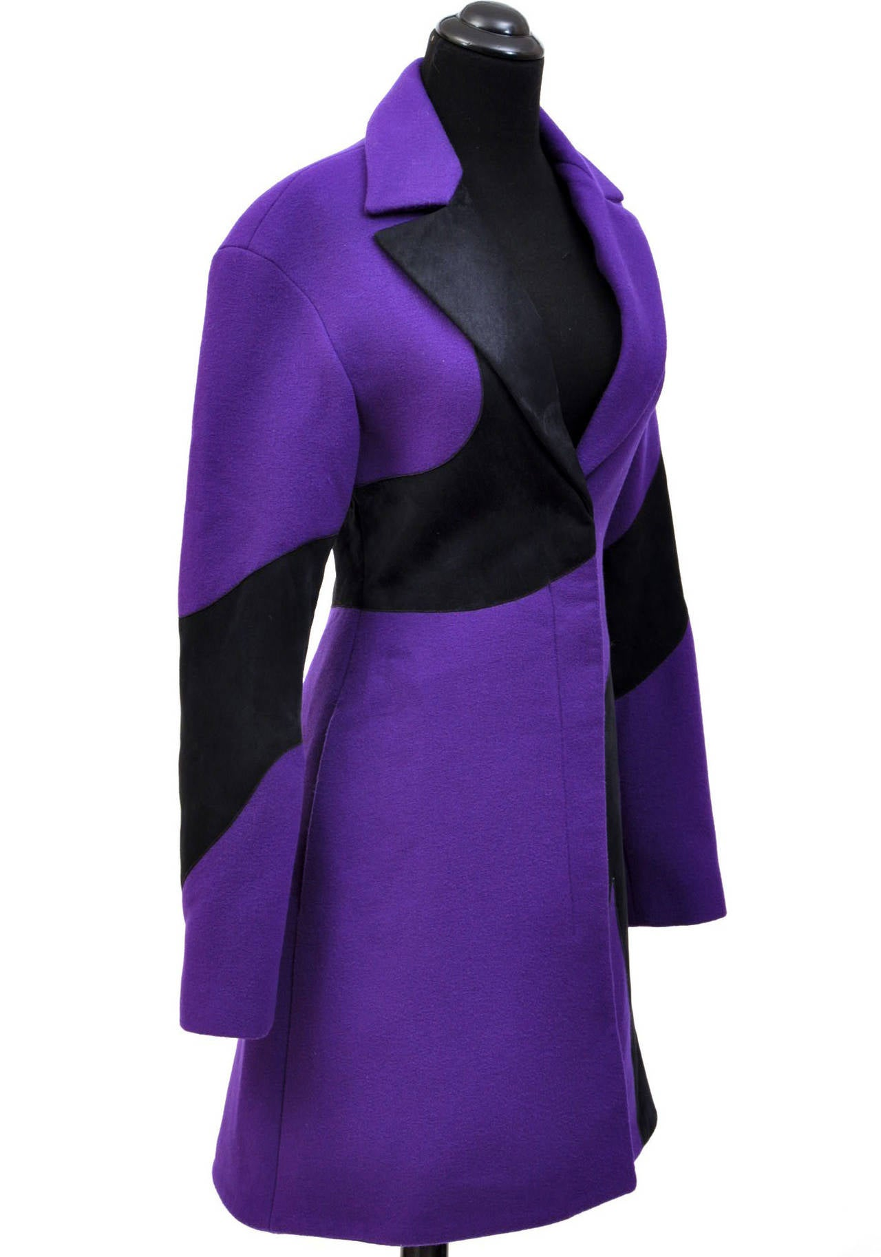 New VERSACE Purple Wool Coat With Leather 3