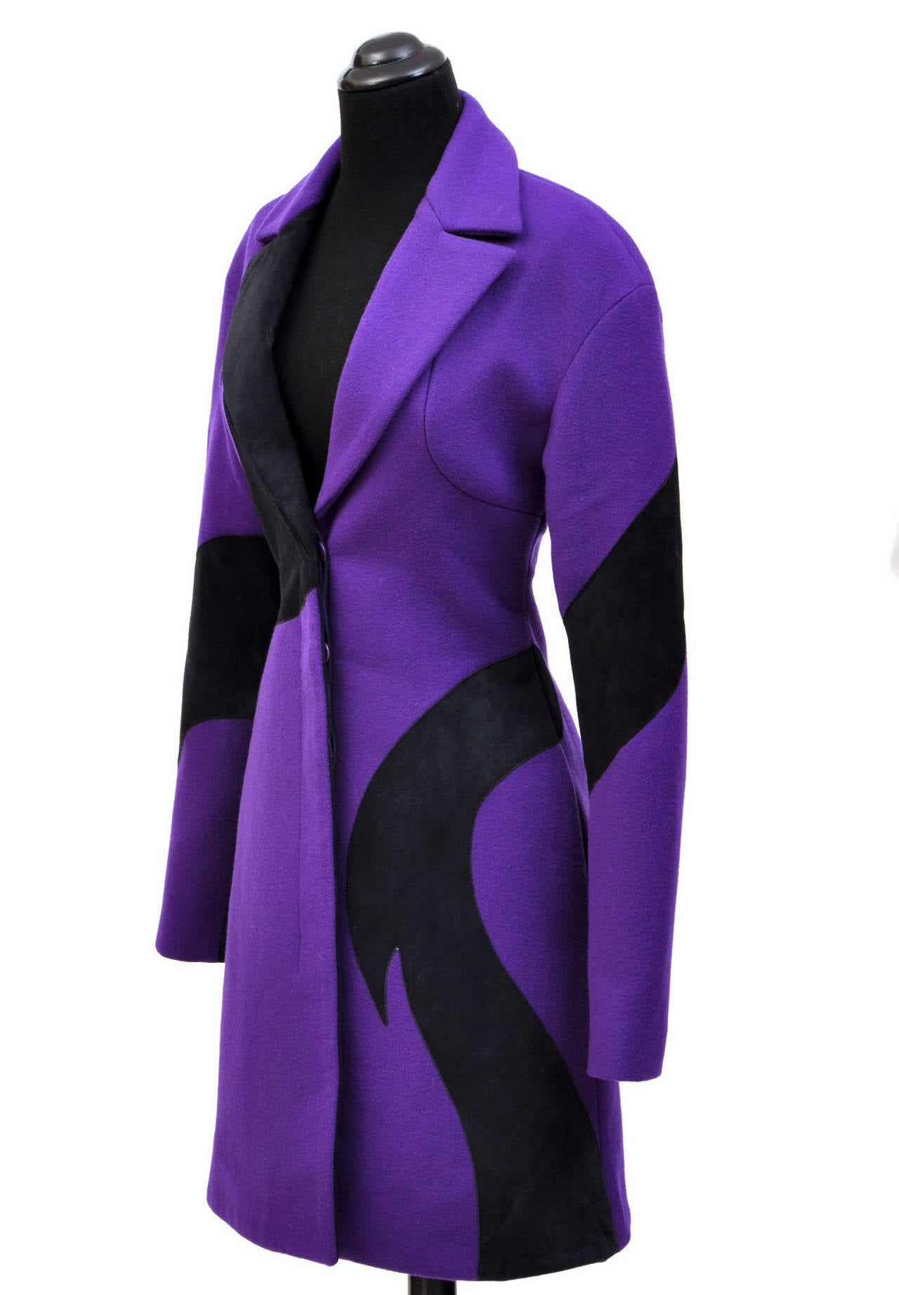 New VERSACE Purple Wool Coat With Leather 4