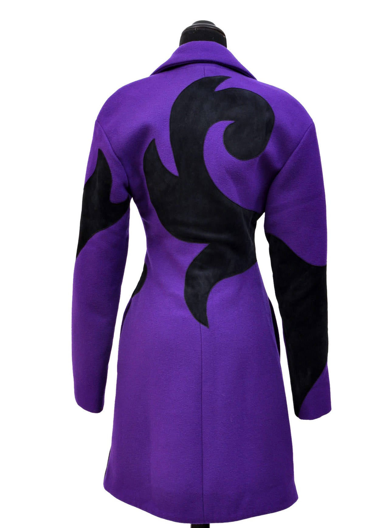 New VERSACE Purple Wool Coat With Leather 5