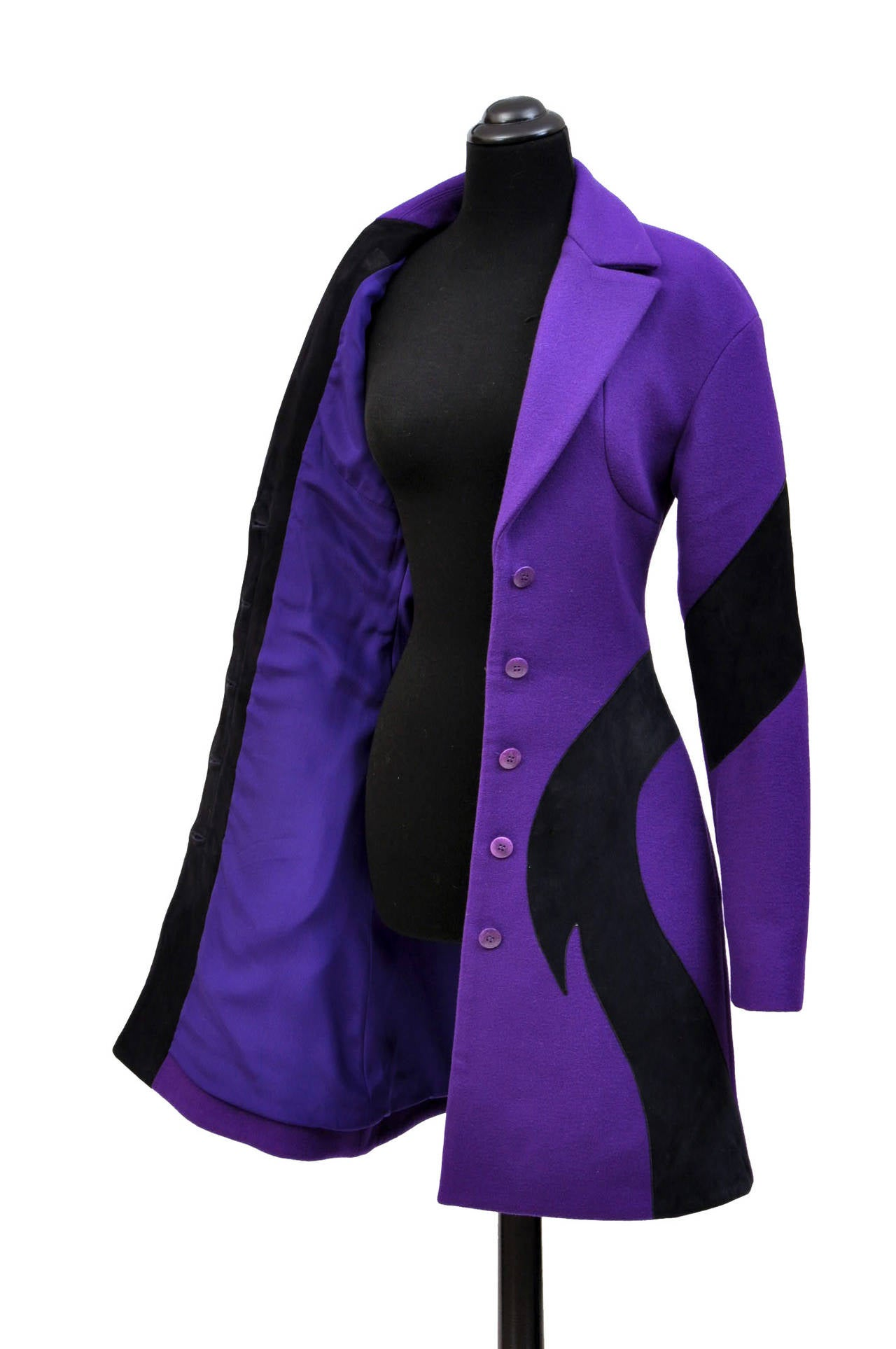 New VERSACE Purple Wool Coat With Leather 6