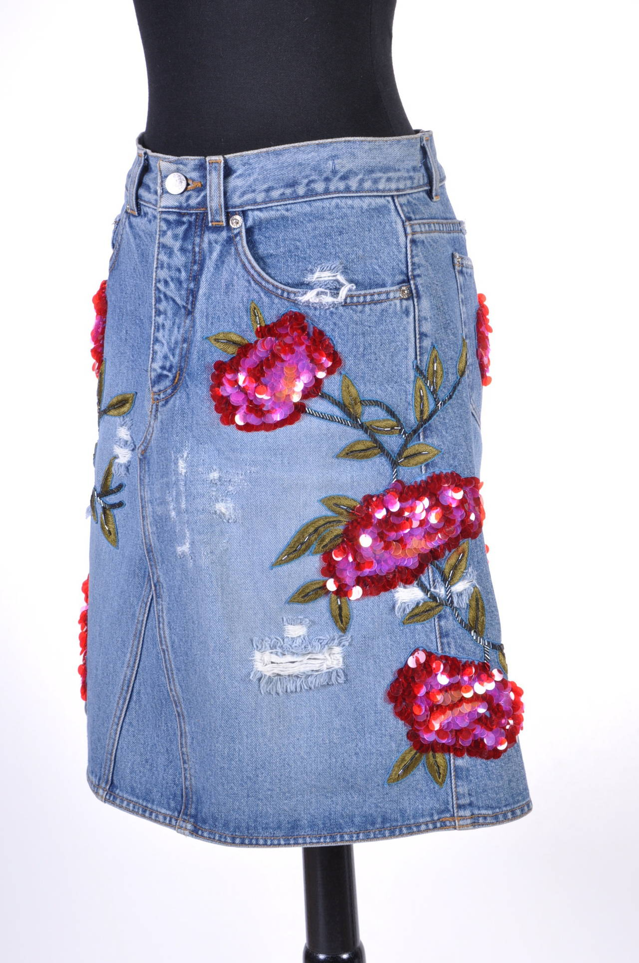 1999 TOM FORD for GUCCI RARE COLLECTOR'S BEADED DENIM SKIRT 3