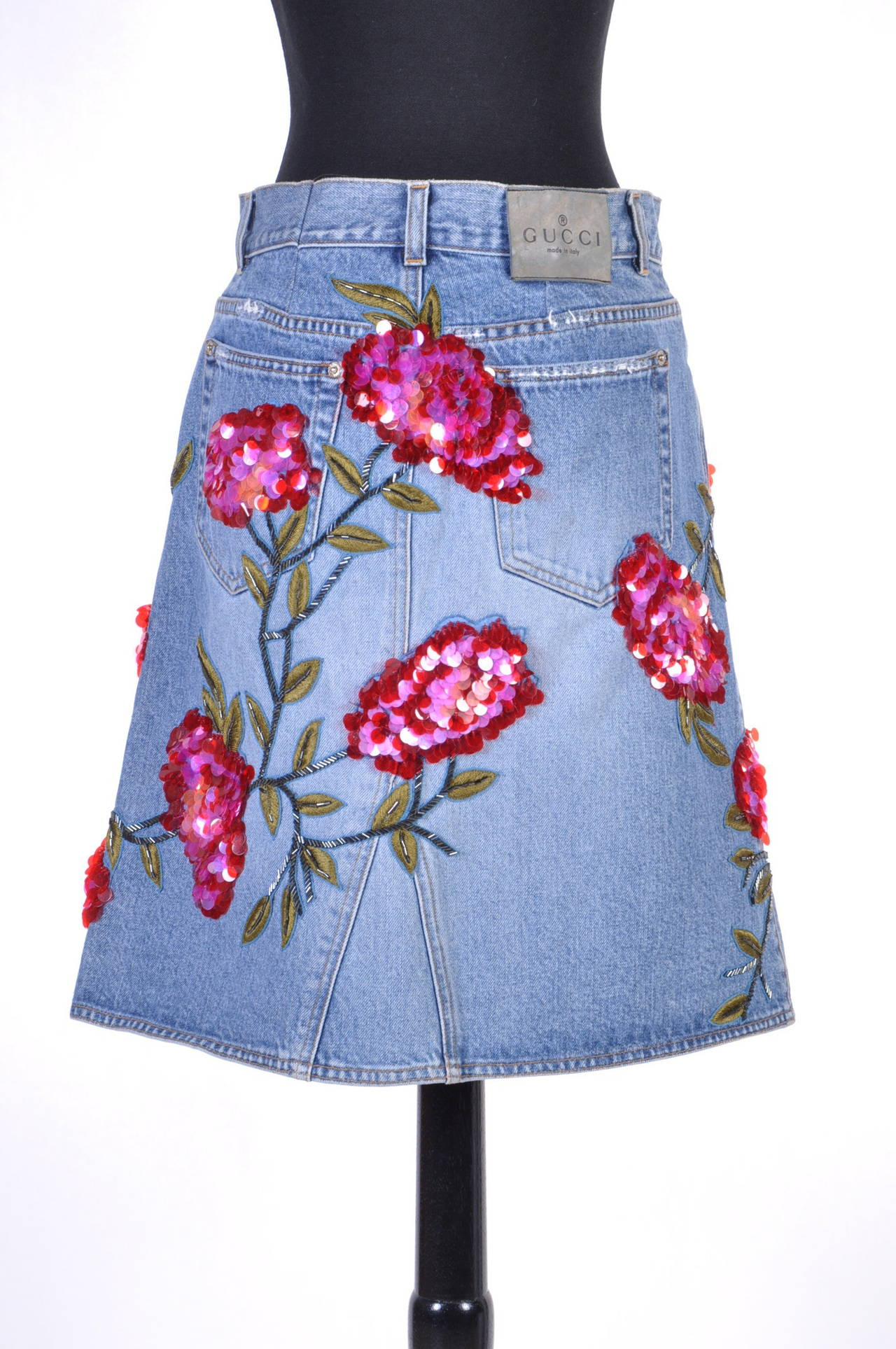 1999 TOM FORD for GUCCI RARE COLLECTOR'S BEADED DENIM SKIRT 5