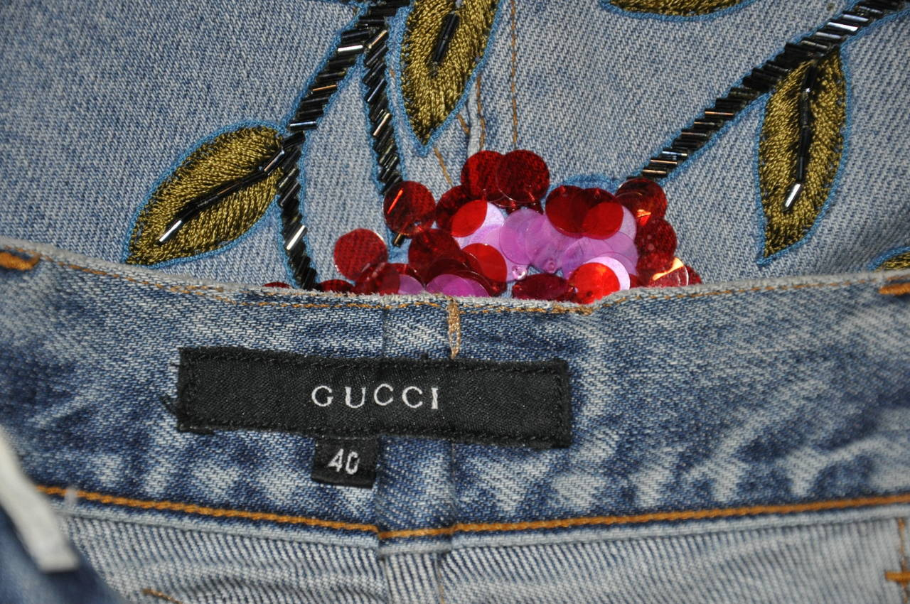 1999 TOM FORD for GUCCI RARE COLLECTOR'S BEADED DENIM SKIRT 7