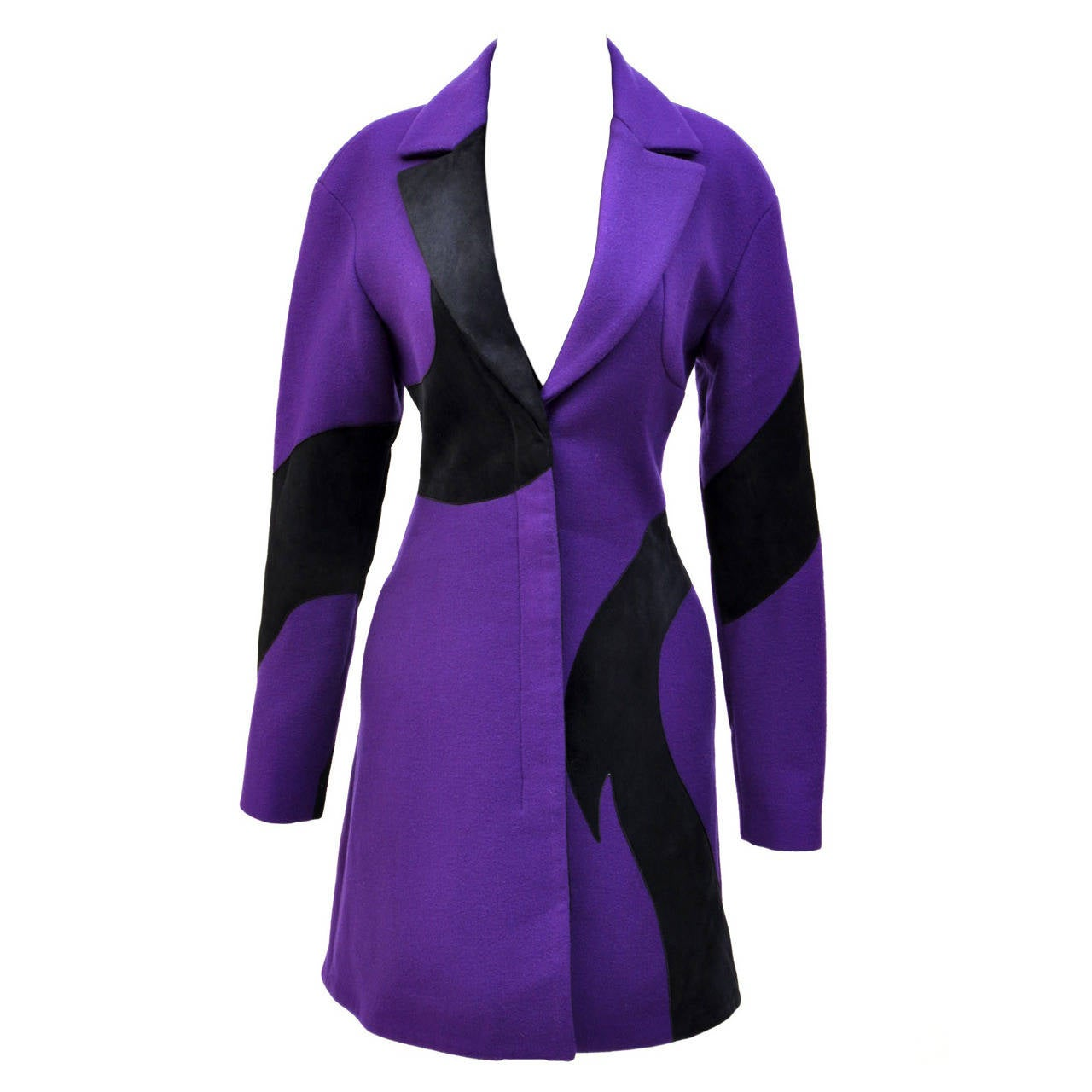 New VERSACE Purple Wool Coat With Leather 1